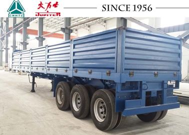 China Drop Side Trailer With 1.2 Meter Side Wall , Flatbed Utility Trailer Spring Suspension factory