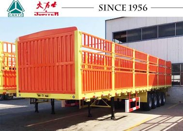 China 40FT 4 Axles Fence Trailer , High Side Wall Cargo Trailer 12R22.5 Tires distributor