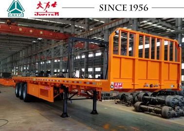 China 3 Axle Flatbed Trailer With Front Side Wall , Flatbed Car Trailer Long Life factory