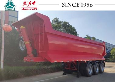 China 27 Cubic Meter 3 Axle Tipper Trailer , Red 40 Tons Tipping Trailer Long Life factory
