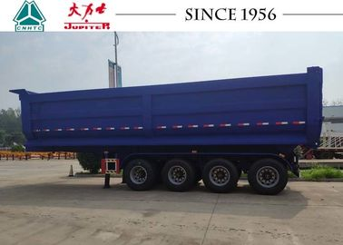 China U Shape 45 m³ Heavy Duty Tipper Trailer , Blue Color 4 Axle Dump Trailer factory