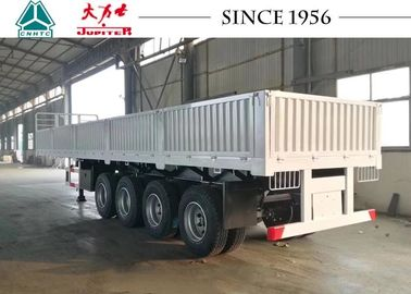 China White 40 FT Drop Side Trailers , Flatbed Trailer 4 Axle With Side Wall distributor