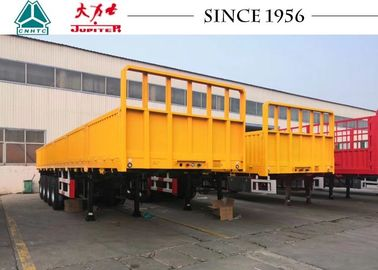 China Custom Durable Flatbed Trailer Heavy Duty 4 Axle 500 Mm Side Wall Height distributor